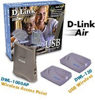 D-Link DWL-920, 11Mbit/s, Wireless, USB LAN Kit (1x DWL-1000AP, 2x DWL-120)