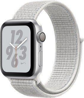 Apple Watch Nike+ Series 4 (GPS) Aluminium 40mm silber mit Sport Loop weiß (MU7F2FD/A)