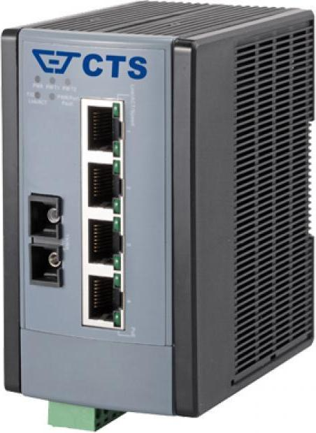 CTS WPS-3005 Industrial Railmount Gigabit Switch, 4x RJ-45, 1x SC/MM 550m, PoE+ (WPS-3005FC)