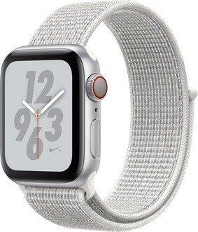 Apple Watch Nike+ Series 4 (GPS + Cellular) Aluminium 40mm silber mit Sport Loop weiß (MTXF2FD/A)