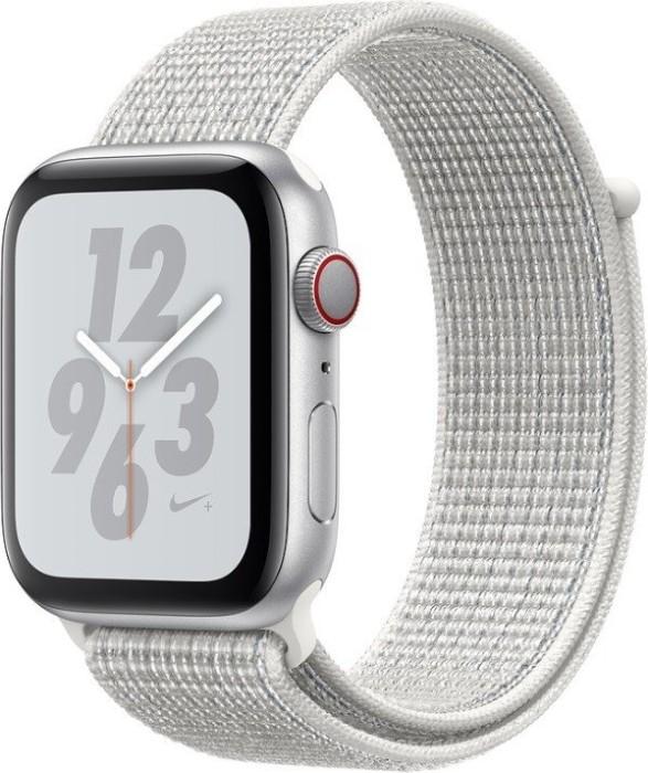 Apple Watch Nike+ Series 4 (GPS + Cellular) Aluminium 44mm silber mit Sport Loop weiß (MTXJ2FD/A)