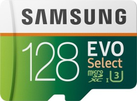 Samsung EVO Select R100/W60 microSDXC 128GB Kit, UHS-I U3, Class 10 (MB-ME128HA)