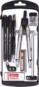 Aristo Studio Schnellverstellzirkel Set, 9-teilig, silber/schwarz (AR80078)