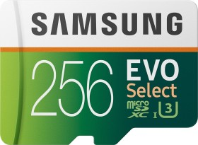Samsung EVO Select R100/W90 microSDXC 256GB Kit, UHS-I U3, Class 10 (MB-ME256HA)