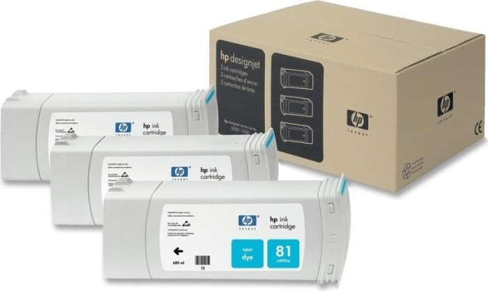 HP 81 Tinte cyan, 3er-Pack (C5067A)