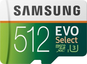 Samsung EVO Select R100/W90 microSDXC 512GB kit, UHS-I U3, Class 10 (MB-ME512HA)
