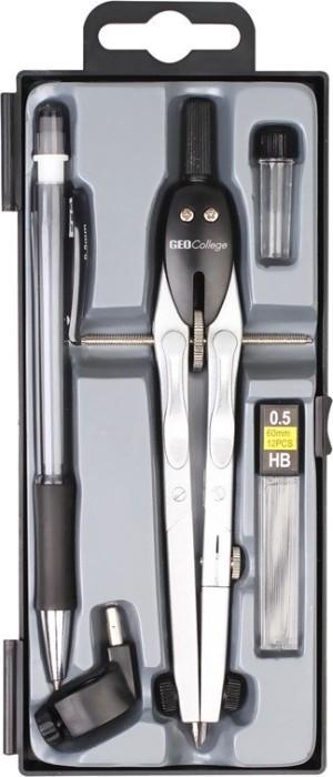 Aristo GEOCollege spring bow compass set, 5-piece, silver/black (AR80084)