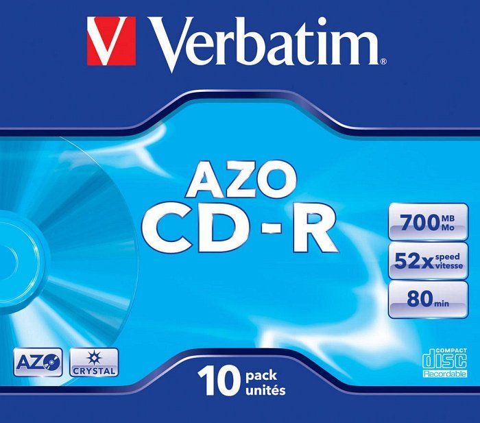 Verbatim Azo CD-R 80min/700MB 52x, 10-pack Jewelcase (43327)