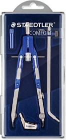 Staedtler Mars comfort 552 Schnellverstellzirkel, Universaladapter, Verlängerung, silber/blau (552 02)