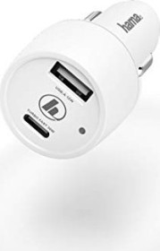 Hama car charger USB type-C Power Delivery/Quick Charge 3.0 + USB-A 42W white (183322)