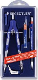 Staedtler Mars comfort 552 Schnellverstellzirkel, Universaladapter, Bonuspack mit Druckbleistift und Feinminen, silber/blau (552 01 PR1)