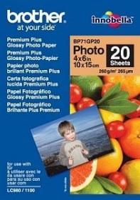 Brother Premium Plus Fotopapier glänzend 10x15, 260g/m², 20 Blatt (BP71GP20)