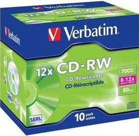 Verbatim CD-RW 80min/700MB 12x, 10-pack Jewelcase (43148)