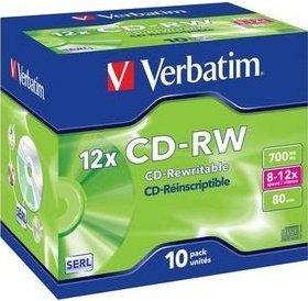 Verbatim CD-RW 80min/700MB 12x, 10er Jewelcase (43148)