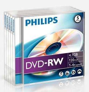 Philips DVD-RW 4.7GB 4x, 5er-Pack (DN4S4J05F)