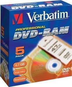 Verbatim DVD-RAM single sided 4.7GB 1x, sztuk 5 Cartridge T2 (43119)