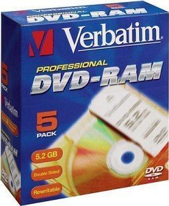 Verbatim DVD-RAM double sided 5.2GB  1x, 5er Cartridge T1 (43120)