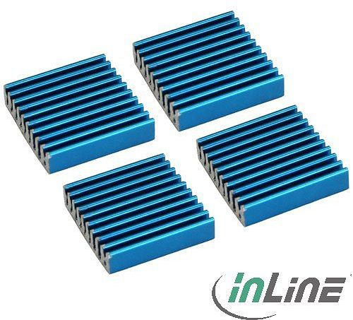 InLine RAM cooler self-adhesive cooling fins, 4 pieces, blue (33955H)