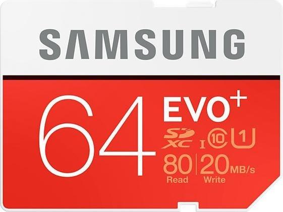 Samsung R80/W20 SDXC EVO+ 64GB, UHS-I, Class 10 (MB-SC64D/EU)