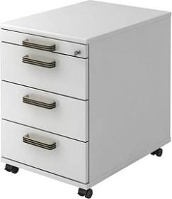 Hammerbacher Solid Container VAC30, Streifengriff, weiß, Rollcontainer (VAC30/W/W/SG)