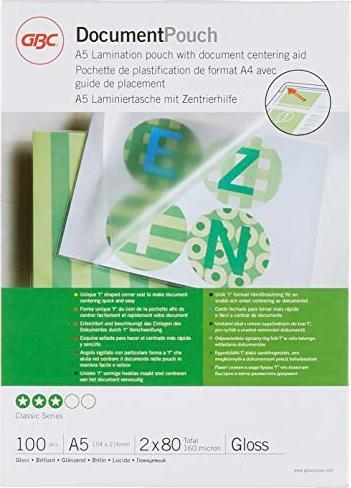 GBC Laminierfolie A5, 2x 80 micron, glänzend, 100 Stück (IB575037) -- via Amazon Partnerprogramm