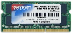 Patriot SO-DIMM 2GB, DDR3-1333, CL9 (PSD32G13332S)