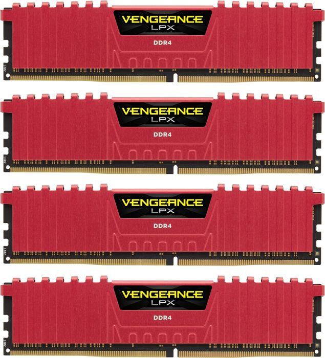 Corsair Vengeance LPX red DIMM kit 16GB, DDR4-2133, CL13-15-15-28 (CMK16GX4M4A2133C13R)
