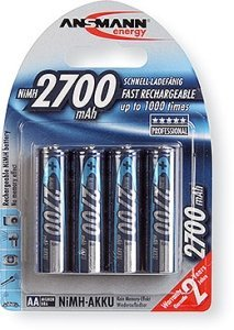 Ansmann Mignon AA NiMH rechargeable battery 2700mAh, 4-pack (5030842)