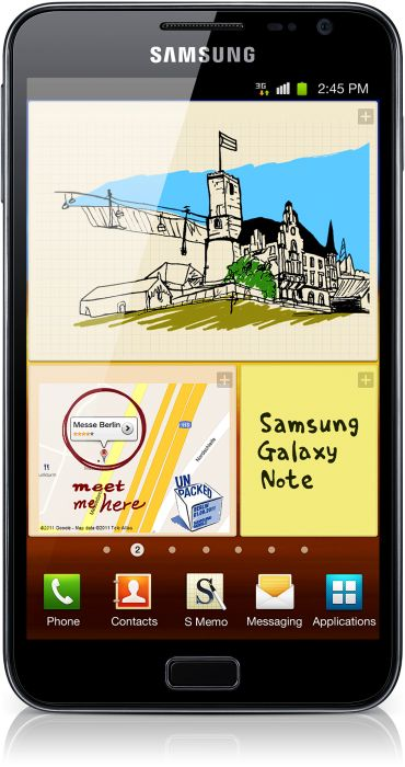 Samsung Galaxy Note N7000 16GB with branding -- © tabtech.de
