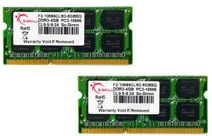 G.Skill SO-DIMM Kit  8GB, DDR3-1333, CL9-9-9-24 (F3-10666CL9D-8GBSQ)