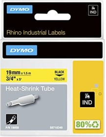 Dymo IND shrink tubing 19mm, black/yellow (S0718340/18058)