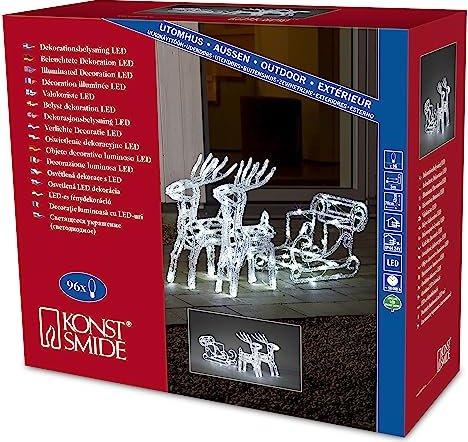 Weihnachtsbeleuchtung Schlitten Rentiere.Konstsmide Led Acryl Motiv Rentiere Mit Schlitten 96x Kaltweiß 6192 203