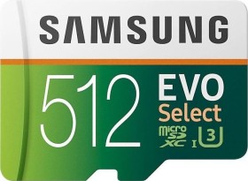 Samsung EVO Select R100/W90 microSDXC 512GB Kit, UHS-I U3, Class 10 (MB-ME512GA)