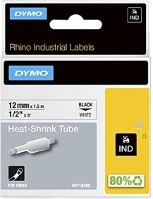 Dymo IND shrink tubing 12mm, black/white (S0718300/18055)