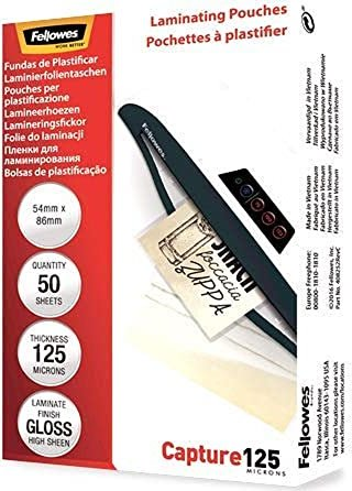 Fellowes Laminierfolie 54x86mm, 2x 125 micron, glänzend, 50 Stück (53966) -- via Amazon Partnerprogramm