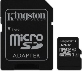 Kingston Canvas Select R80 microSDHC 32GB Kit, UHS-I U1, Class 10 (SDCS/32GB)