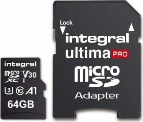 Integral Premium High Speed R100/W70 microSDXC 64GB Kit, UHS-I U3, A1, Class 10 (INMSDX64G-100/70V30)