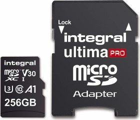 Integral Premium High Speed R100/W90 microSDXC 256GB Kit, UHS-I U3, A1, Class 10 (INMSDX256G-100/90V30)