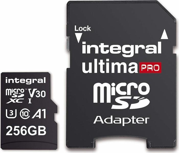 Integral Premium High Speed R100/W90 microSDXC 256GB Kit, UHS-I U3, A1, Class 10 (INMSDX256G-100/90V30)