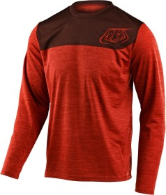 Troy Lee Designs Flowline LS Shield Trikot langarm heather tangerine/dark slate (Herren) (346038-00)
