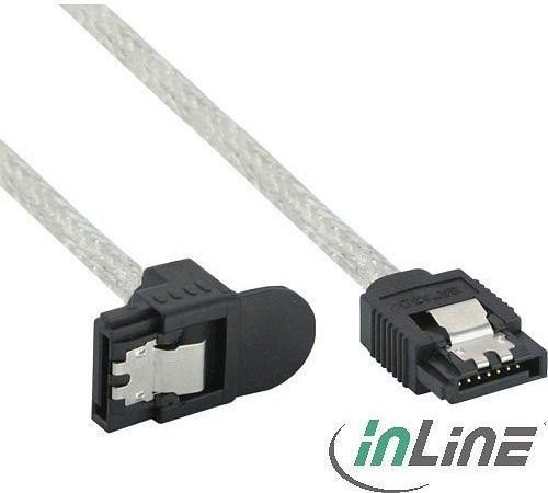 InLine SATA cable transparent, straight/angled 0 3m (27303X)