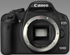 Canon EOS 500D black with third-party manufacturer lens