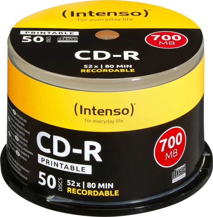 Intenso CD-R 80min/700MB 52x, 50-pack Spindle printable (1801125)