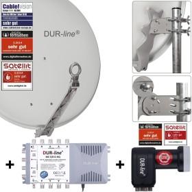 Dura-Sat Dur-line Select 75/80 G + MS5/8 + LNB - 8 Teilnehmer Set, hellgrau (12380)