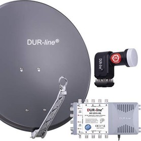 Dura-Sat Dur-line Select 75/80 G + MS5/8 + LNB - 8 Teilnehmer Set, anthrazit (12381)
