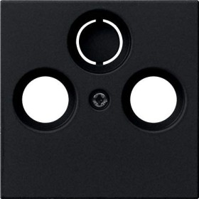 Gira System 55 Abdeckung für Koaxial-Antennensteckdose, schwarz matt (0869 005)