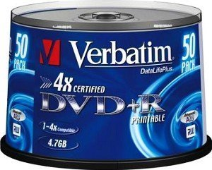Verbatim DVD+R 4.7GB 4x, 50-pack Spindle printable (43239)