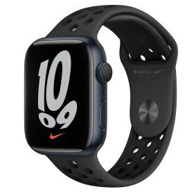 Bild Apple Watch Nike Series 7 (GPS) 45mm Aluminium Mitternacht mit Sportarmband anthrazit/Schwarz (MKNC3FD)