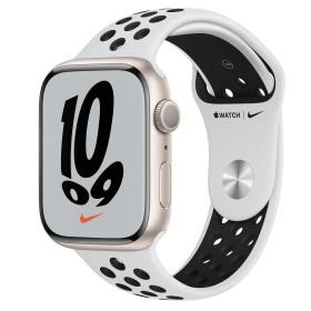 Bild Apple Watch Nike Series 7 (GPS) 45mm Aluminium Polarstern mit Sportarmband Pure Platinum/schwarz (MKNA3FD)