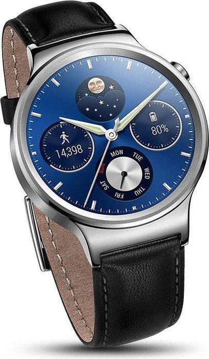 Huawei Watch Classic mit Lederarmband silber/schwarz (55020640/55020561)